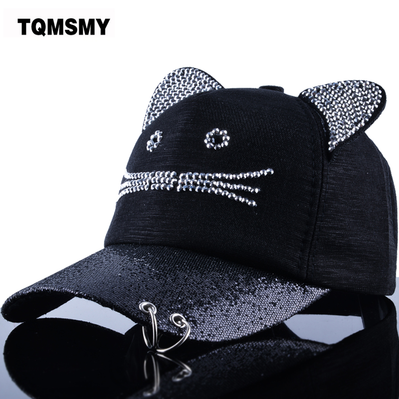TQMSMY Rhinestone Snapback Cute Cat Ears Cartoon Baseball Cap Women Casual Sun Hat Gorras Bones Casquette for Woman TMBS31