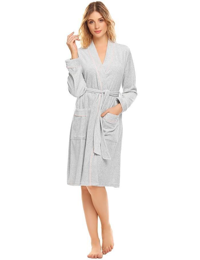 Women Velvet Robe Sleepwear Kimono Cotton Bathrobe Soild Winter Autumn Long Sleeve Pocket Patchwork Sleepwear Spa Robes