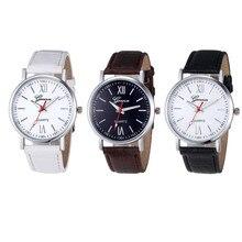 Durable Fashion watch women  Men Women Fashion Leather Analog Stainless Steel Quartz Wrist Watch