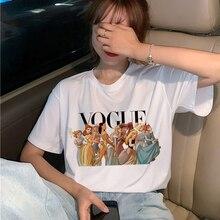 Vogue Harajuku Ullzang Футболка женская забавная мультяшная принцесса футболка 90s графическая Эстетическая Футболка Модные кавайные футболки женские