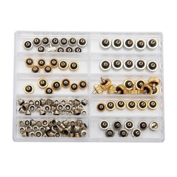¡Envío gratis! ¡Nuevo! 60 uds. Corona de reloj para cobre Rlx 5,3mm 6,0mm 7,0mm Reparación de oro plateado