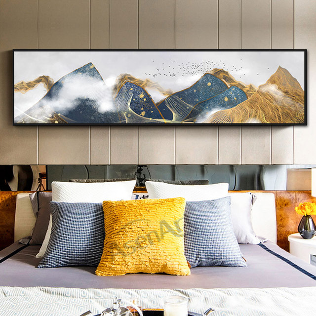 Modern Single Wall Art Abstract Golden Lines Canvas Painting Posters Pictures for Living Room Bedroom Home Decorative Unframed