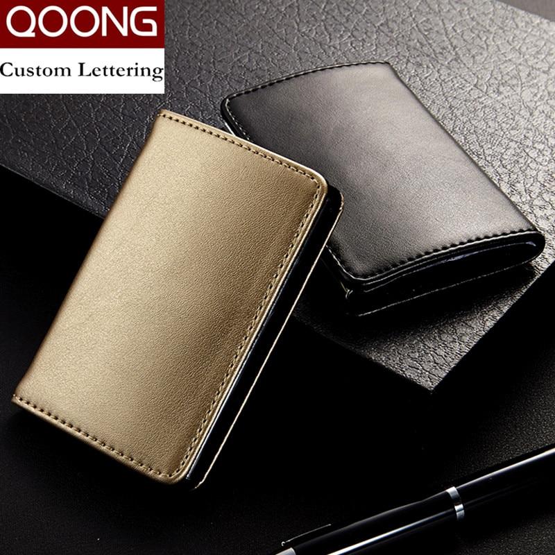 Qoongファッション男性女性本革ステンレス鋼掛け金ビジネス名IDクレジットカードホルダーケース大容量KH1-015