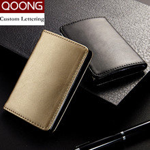 QOONG Fashion Men Women Genuine Leather Stainless Steel Hasp Business Name ID Credit Card Holder Case Large Capacity KH1-015