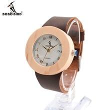 BOBO Diseño de AVES de Las Mujeres Marca de Relojes de Lujo de Bambú de Madera Con Reloj de Cuarzo relojes marea de Cuero Real Para Las Mujeres se Visten reloj