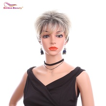 6inch Short Straight Wigs for Black Women Synthetic Hair Blonde Pixie Cut Wig Straight Synthetic Wig With Bangs Golden Beauty
