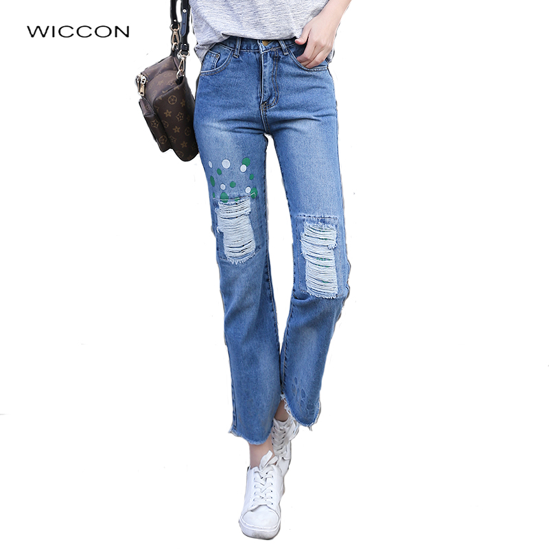 Ripped jeans for women Ankle-Length Flare Pants Loose Jeans woman high waist Hole jeans femme casual trousers Spring Autumn free shipping fashion women jeans loose ankle length ripped hole harem denim pants korean style casual mid waist femme trousers