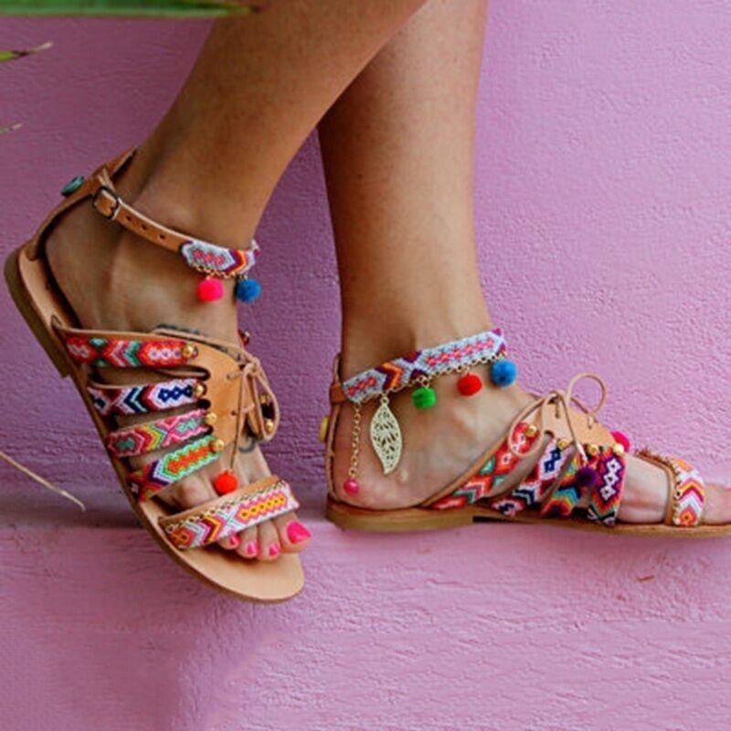 Cadenas Embellecido Color Bola Colores Bobbles Playa De Multi 1 Pisos Señoras Hojas Popular Chica Estilo Verano Bohemia Sandalias Pedante wRfqZIBA