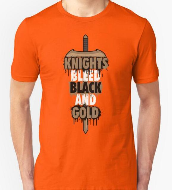 85681273ccb Knights Bleed Black And Gold T-shirts Men Funny Cotton Short Sleeve O-neck  T shirts 2016 New Fashion Summer Style Design T shirt
