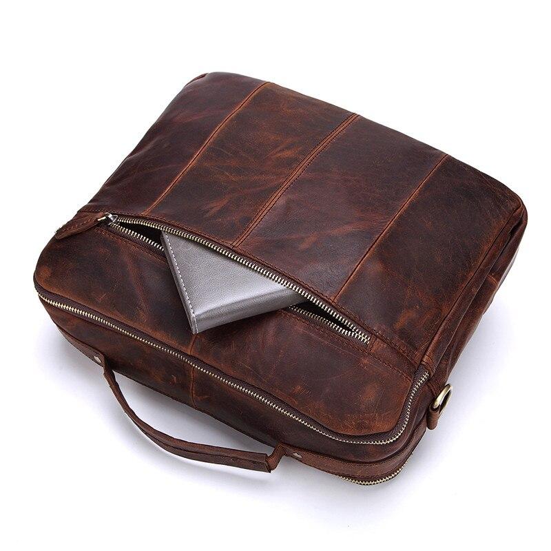 Nesitu, винтажные, шоколадные, первый слой, натуральная кожа, мужские сумки через плечо, сумки через плечо, мужской портфель, портфель # M207 - 4