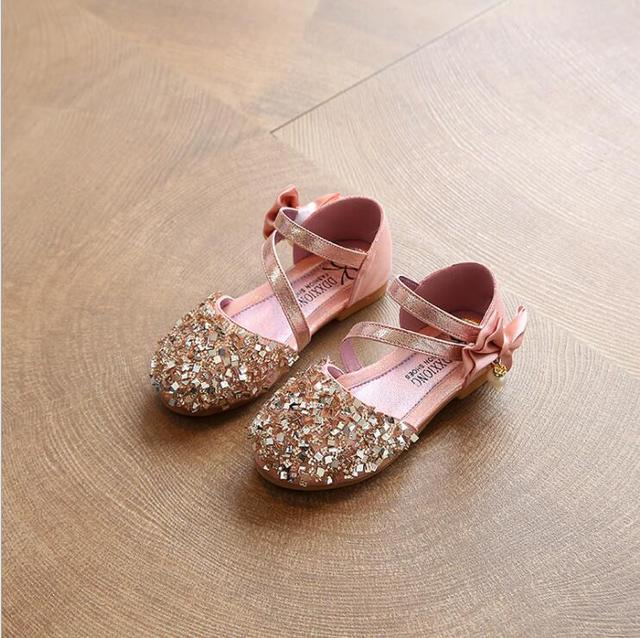 e877b1db9 2019 Children Princess Glitter Shoes Kids Girls Soft Flat Shoes Square Flat  Dress Party Shoes Girls Summer Sandals Size 31-36