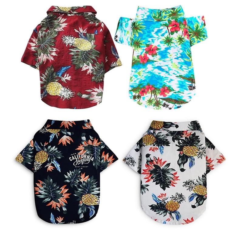 Dog Clothes Summer Beach Shirt Dog Cute Print Hawaii Beach Casual Pet Travel Shirt Pineapple Floral Short Sleeve Dog Cat Blouse