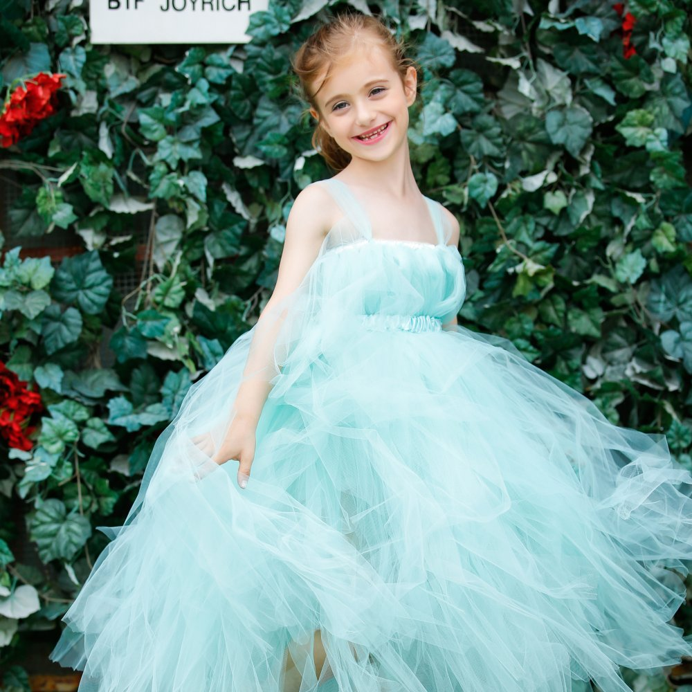 Aqua Flower Girl Ankle Length Wedding Tutu Dress Little Girls Bridesmaid Birthday Party Gown Tulle Dresses Baby Kids CLothes