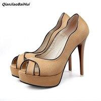 QianJiaoBaiHui 새로운 스타일의 여성 샌들 펌프 12 센치메터 높은 뒤꿈치 플랫폼 신발 얇은 힐 오픈 발가락