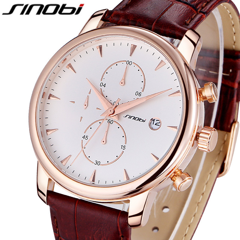 SINOBI Leather Strap Sport Quartz Watch Men Casual Mens Watches Top Brand Luxury Waterproof Quartz-Watch Wristwatch Reloj Hombre mens watch top luxury brand fashion hollow clock male casual sport wristwatch men pirate skull style quartz watch reloj homber