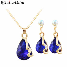 ROLILASON Graceful Water drop shaped blue zircon pendant golden chain necklace women earrings set accessories JS819 a suit of graceful rhinestone moon necklace and earrings for women
