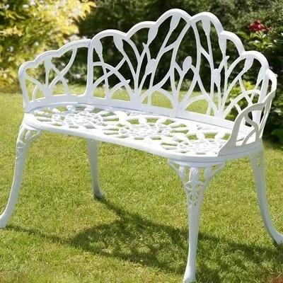 2 seater cast aluminum luxury durable garden chair outdoor furniture (bench white ) luxury aluminum watch