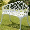 2 seater cast aluminum luxury durable garden chair outdoor furniture (bench white )
