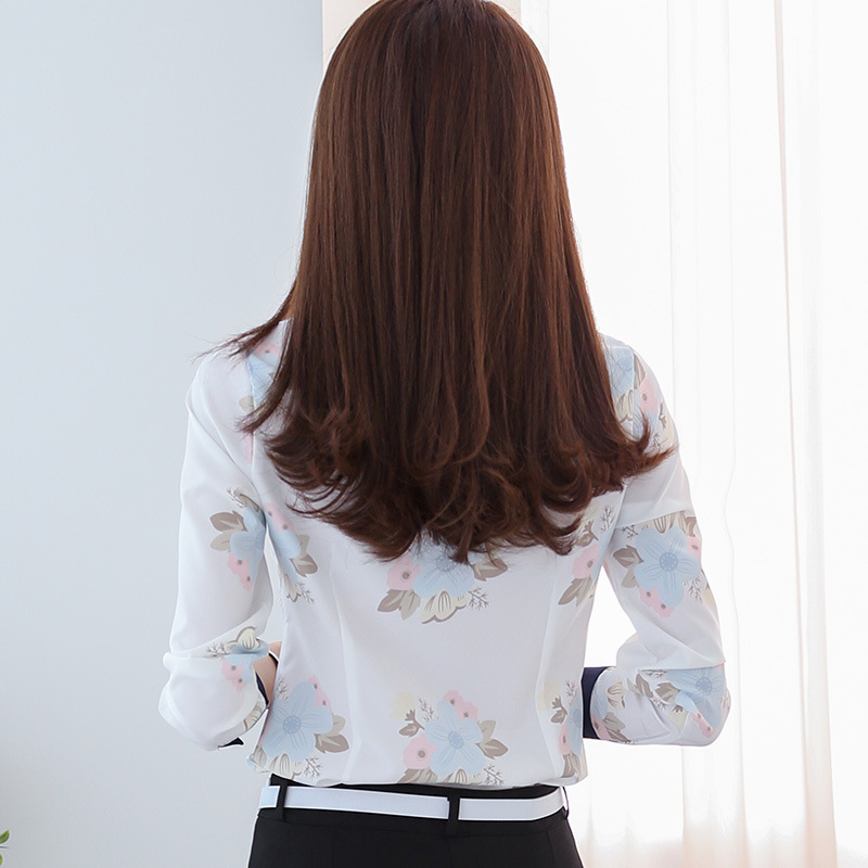 Women Fashion Korean Style Slim Long Sleeved Printed Turn Down Collar Leisure Chiffon Shirts Blouses in Blouses amp Shirts from Women 39 s Clothing