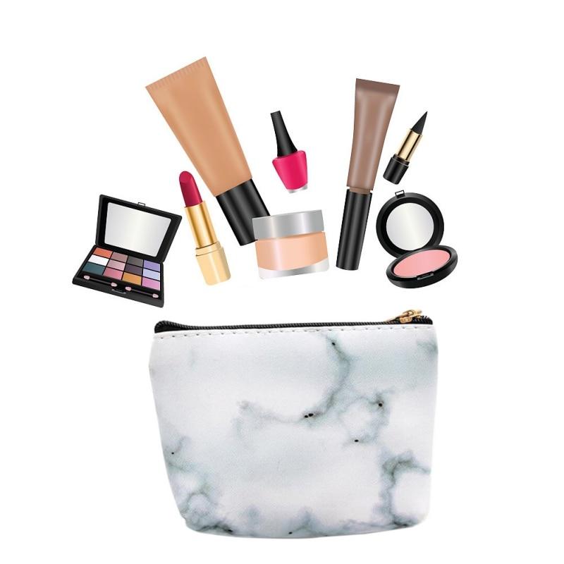 Pencil Pen Case Cosmetic Makeup Storage Bag Marble Pattern Purse Zipper Pouch Make Up Brushes Holder Tools Pincel Maquiagem