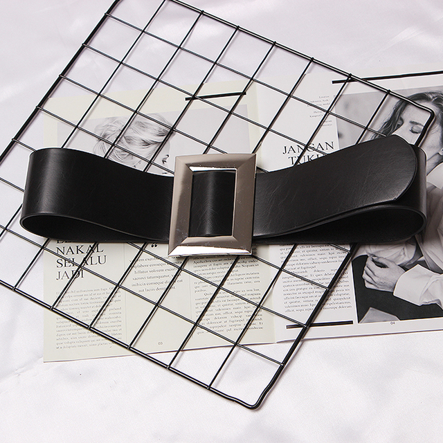 Top Quality black Leather Belts Cummerbund Luxury Female wide silver metal Decorative