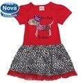 As crianças se vestem 2014 nova baby & kids clothing adorável cão dos desenhos animados verão curto tutu lace vestido de festa à noite para os bebés H4750