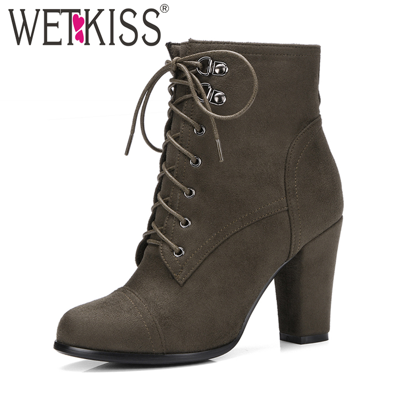 WETKISS Brand Women Ankle Boots Cross tied Side Zipper Military Booties Woman Thick High Heels Shoes Female Winter Boots Big ankle black solid cross tied winter martain boots zipper design suede british style botas femeninas walkway casual shoes women