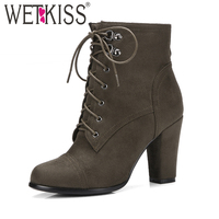 WETKISS Brand Women Ankle Boots Cross Tied Side Zipper Military Booties Woman Thick High Heels Shoes