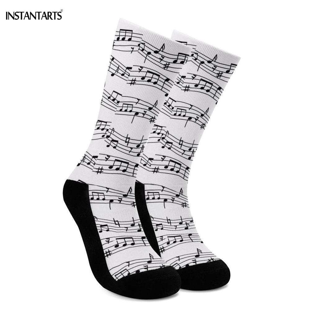 INSTANTARTS Music Notes Printed Cycling Socks Women Men Comfort Outdoor Athletic Socks Hiking Mountain Compression Socks Adults