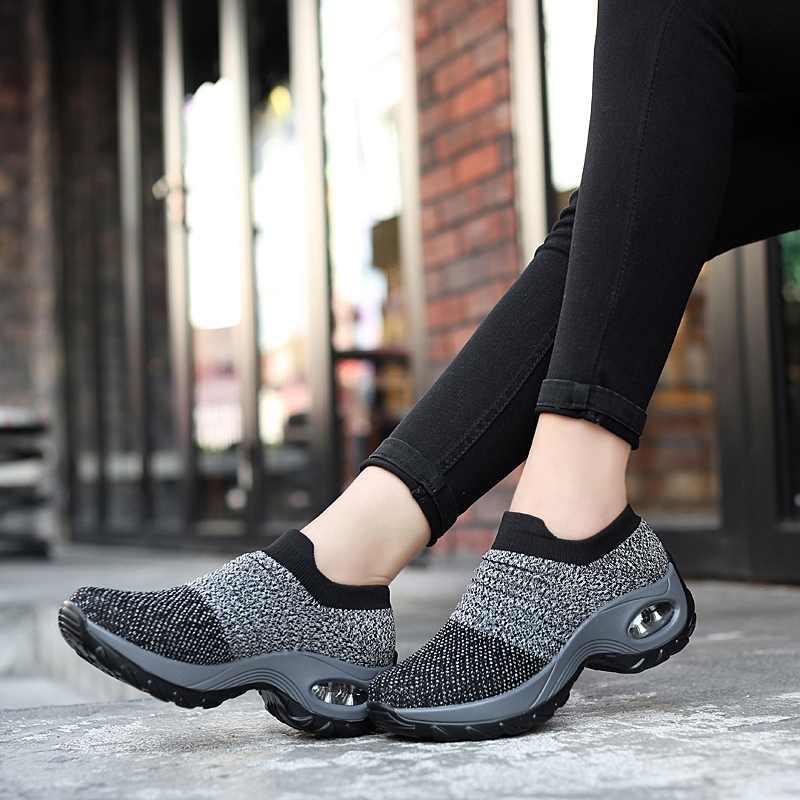 Mùa Xuân Năm 2019 Dành Cho Nữ Giày Phẳng Trơn Trượt Trên Nền Tảng Giày Cho Nữ Màu Đen Lưới Thoáng Khí Mút Giày Sneakers