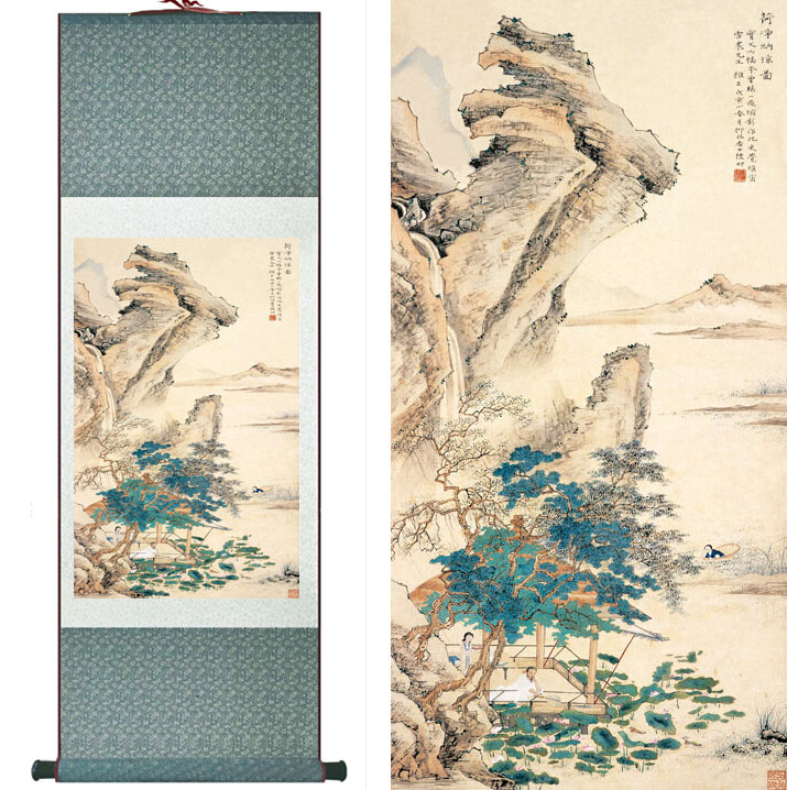 landscape painting Home Office Decoration Chinese traditional Mountains and river paintingPrinted painting