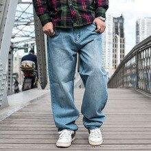 Хип-хоп дизайнерские мешковатые джинсы для мужчин, высокое качество, мужские свободные широкие джинсовые штаны, синие джинсы, брюки для осени и зимы размера плюс 46 48