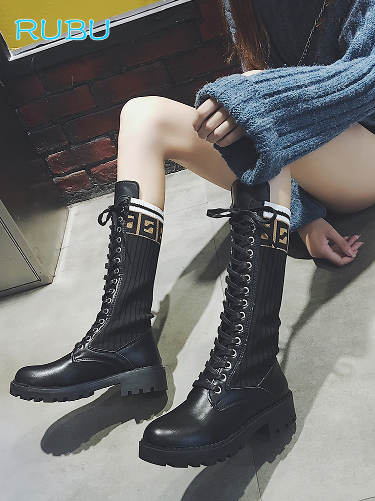 469cebb15 Comprar Botas de calcetín negras elásticas botas de plataforma de mujer  botas con cordones otoño motocicleta Martin botas Punk zapatos Online  Baratos