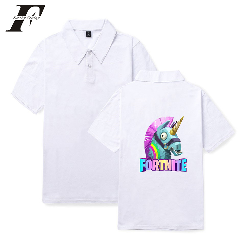 LUCKYFRIDAYF 2018 BTS Fortnite Lovely Horse Summer Polo Shirt men women Shooting Game Polo Shirt Popular Short sleeveShirt