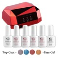 Gel Polish Set Manicure Kit LED UV Lamp Topcoat Basegel 4Pc 15ml Vernis Semi Permanent Lamp For Nails Diamond Shape Nail Dryer
