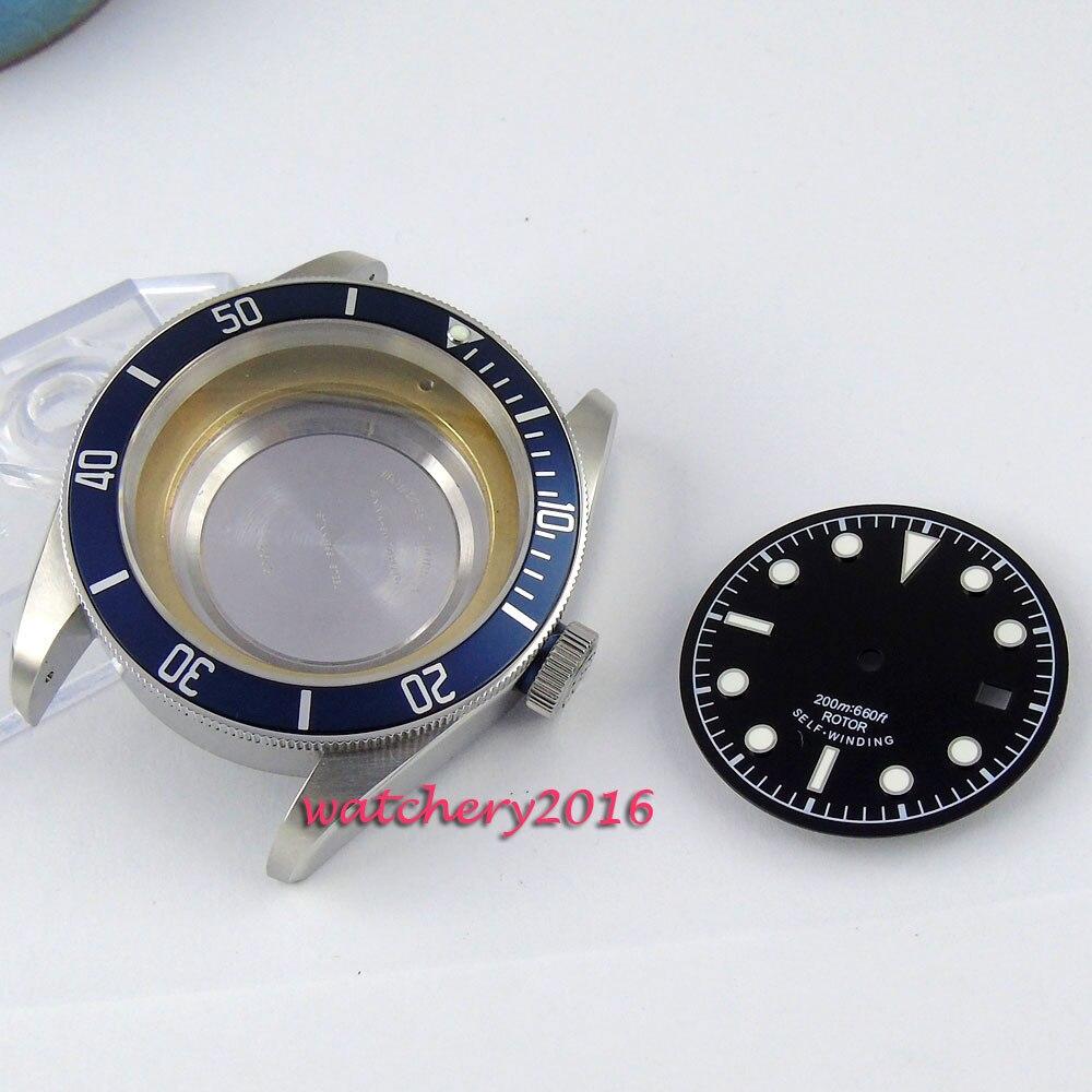 цена 41mm parnis sapphire glass date fit 2824 2836 automatic movement Watch Case+Dials онлайн в 2017 году