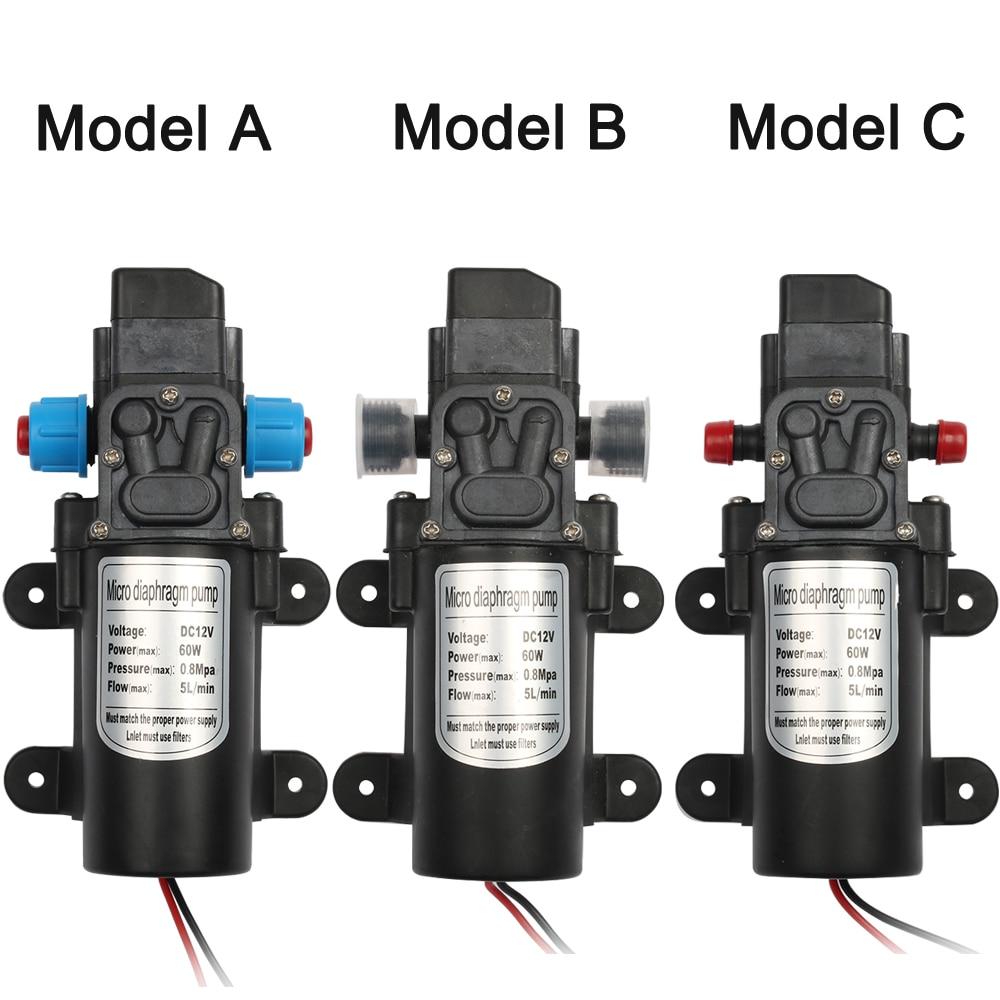 DC 12V 60W Micro Electric Diaphragm Water Pump Automatic Switch 5L/min High Pressure Car Washing Spray Water Pump 0.8Mpa 5L/min 3