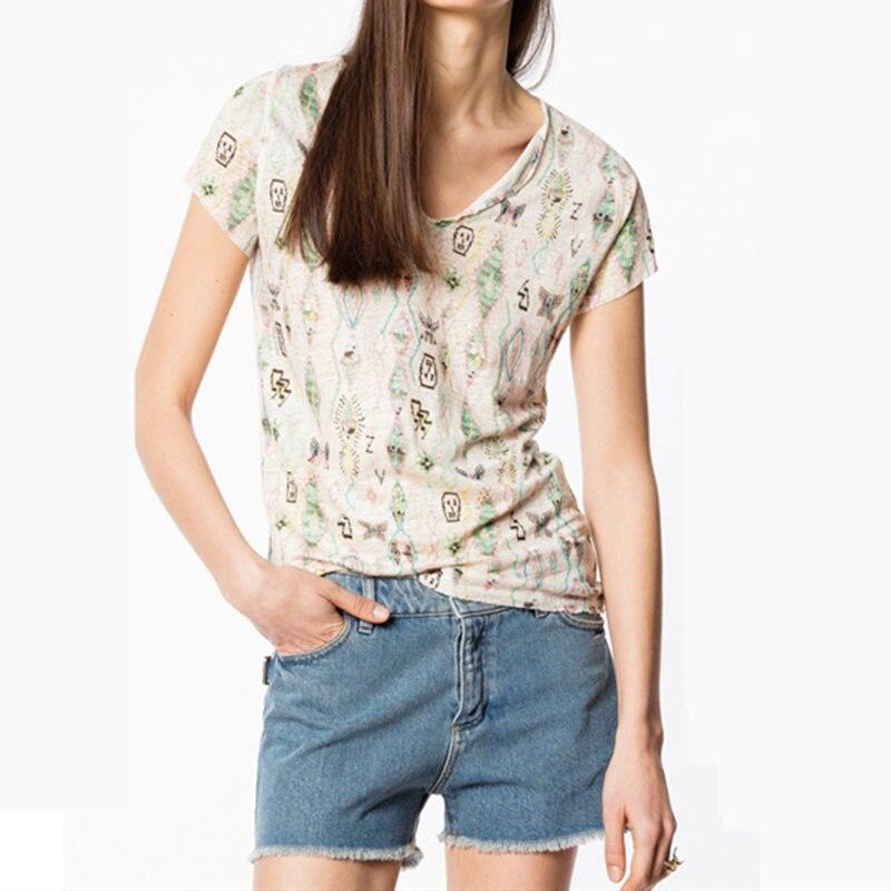 Verano 2019 nueva camiseta de mujer estampado floral con cuello en V de manga corta Camiseta mujer ropa señoras casual Tee-in Camisetas from Ropa de mujer    1