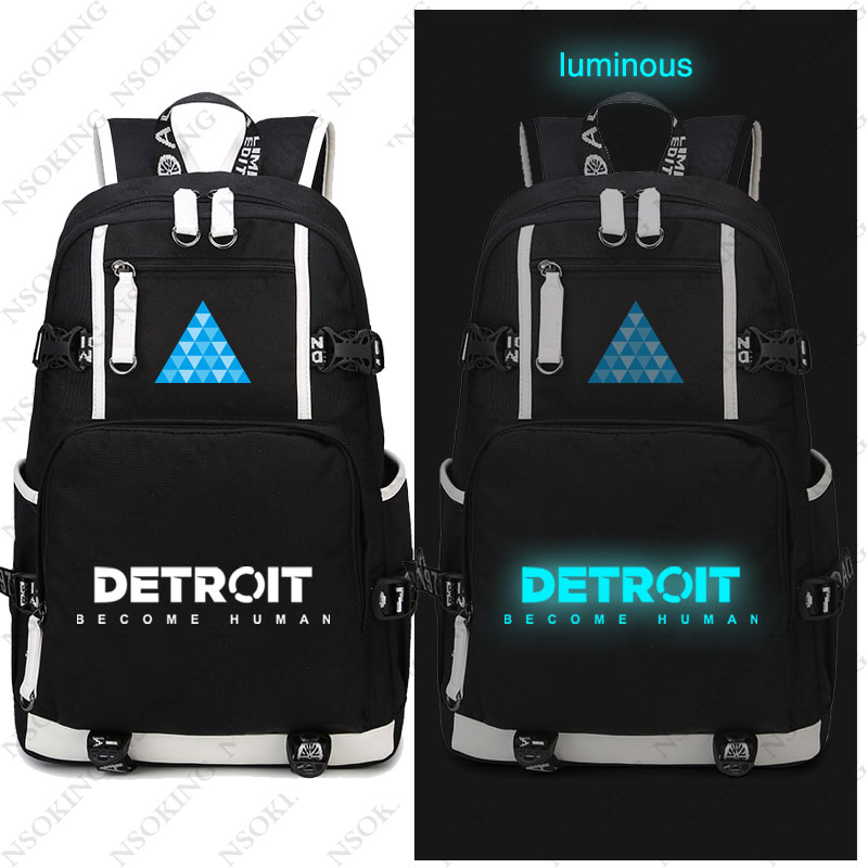 Hot Game Detroit Become Human Backpack Cosplay Canvas Bag Luminous Schoolbag Travel Bags