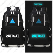 цены Hot Game Detroit: Become Human Backpack Cosplay Canvas Bag Luminous Schoolbag Travel Bags