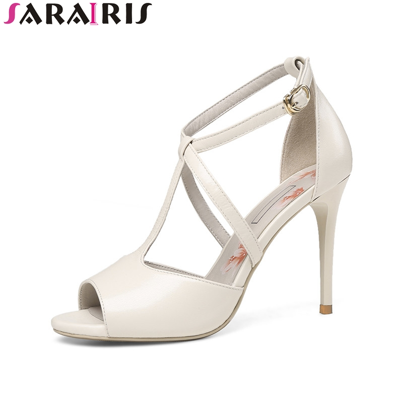 SARAIRIS 2018 Summer Elegant Kid Leather Women T-strap Sandals Super High Thin Heels Shoes Woman Big Size 33-40 Leisure Shoe new arrival black brown leather summer ankle strappy women sandals t strap high thin heels sexy party platfrom shoes woman