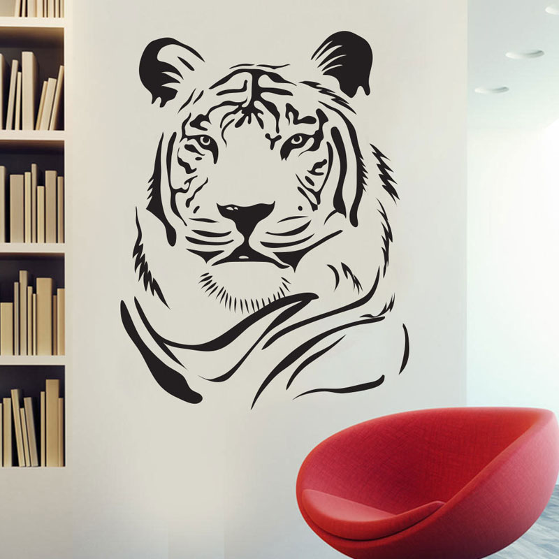 Children Vinyl Walls Decorative Tiger Wall Stickers Kids Bedroom Removable Vinyl Wall Decals Animals