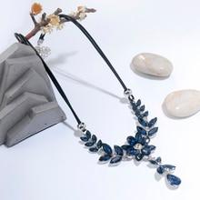 Vintage Blue Flower Statement Crystal Choker Necklaces for Women