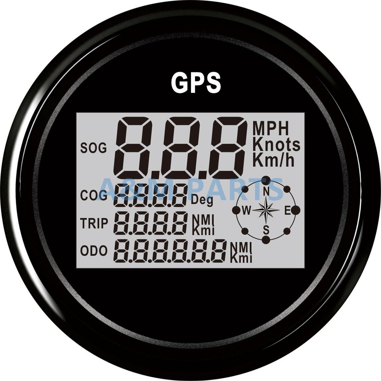 Barco Caminhão Marinha GPS Digital LCD Odômetro Velocímetro Medidor W/GPS Sensor De LCD 9-32 V 85mm preto