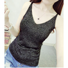 Sexy Knitted Tank Tops Women Gold Thread strapless short Sequined V Neck Tank Blusa Solid Silver Camis Beige Fitness Sweater(China)