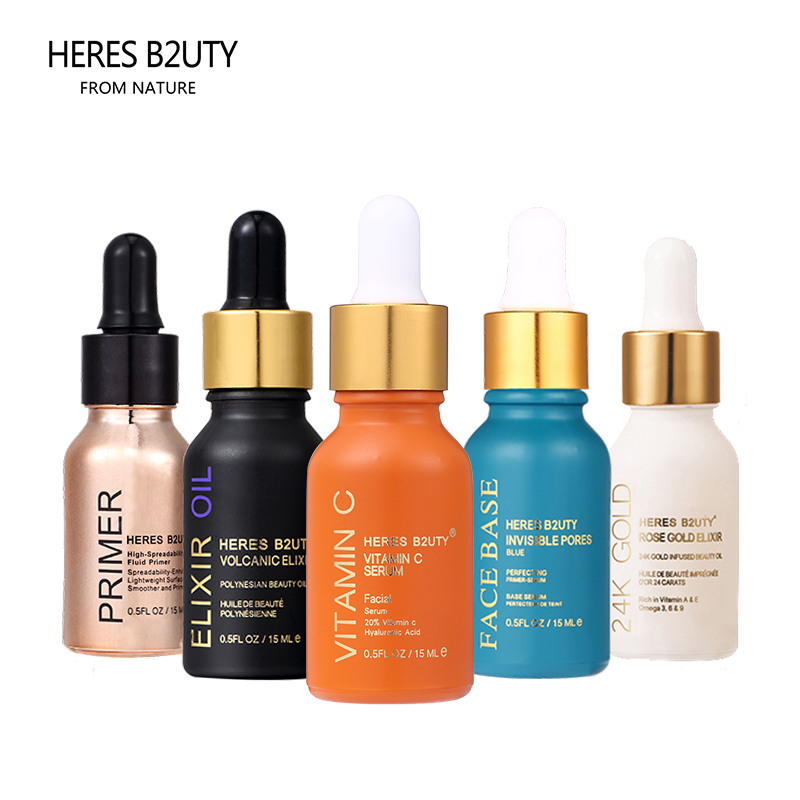 HERES B2UTY 24k Rose Gold/ Elixir Oil/ Vitamin C Oil/Invisible Pores Face Base/Primer 5pcs