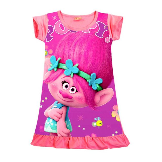 45770e2a25 Vestido Trolls Baby Girl Summer Dress Kids Dresses For Girls Clothes  Children Clothing 3-7 Years Roupas Infantis Menina Jurken