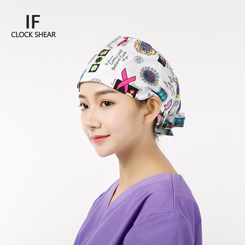 IF new Dental beauty salon cotton doctor nurse pure European and American printing gourd hat and pet hat