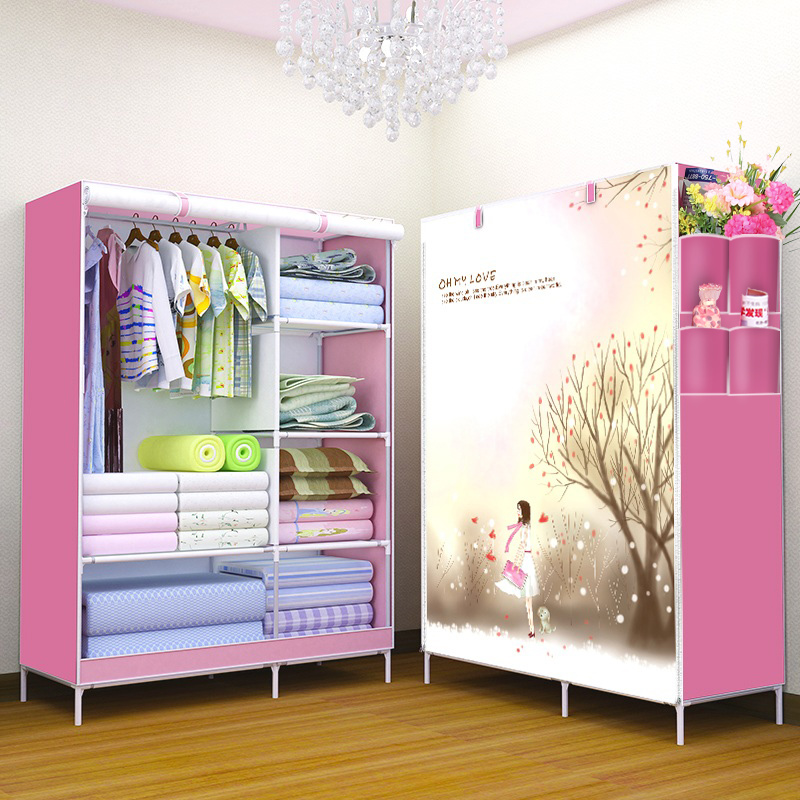 3D pattern Non-woven Fabric wardrobe Non-woven folding wardrobe Clothes Closet cupboard Bedroom Furniture simple fashion moistureproof sealing thick oxford fabric cloth wardrobe rustproof steel pipe closet 133d