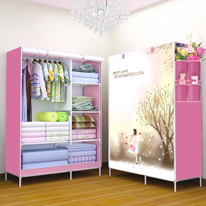 3D pattern Non-woven Fabric wardrobe Non-woven folding wardrobe Clothes Closet cupboard Bedroom Furniture
